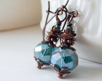 Teal bridesmaid earrings gift, antiqued copper crystal dangles, beaded rustic wedding jewelry