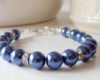 Navy Pearl Bracelet Bridesmaid Jewelry Sparkling Rhinestone Wedding Sets Dark Blue Bridal Party Gift Idea Simple Jewelry Pearl Strand Avalon
