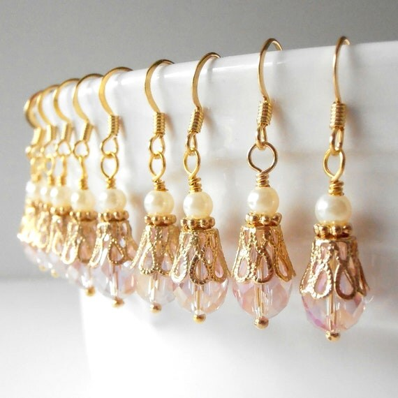 Bridesmaid Jewelry Pink Crystal Earrings in Gold Pink Dangle Earrings Beaded Earrings Pink Wedding Jewelry Bridesmaid Earrings