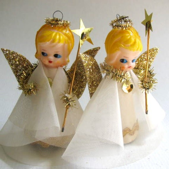 Set of Two Vintage Angel Ornaments Tree Decorations by DodadChick