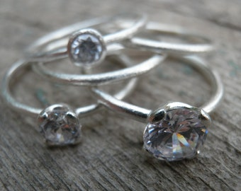 Engagement Rings Set, Stacking Rings, Vintage Inspired Classic Clear cubic Zirconia Rings, Sterling Silver Rings, Statement Rings