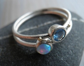 Engagement Rings Set, Stacking Rings, Vintage Inspired Classic Aqua Blue Cubic Zirconia and Opal Rings, Statement Rings.