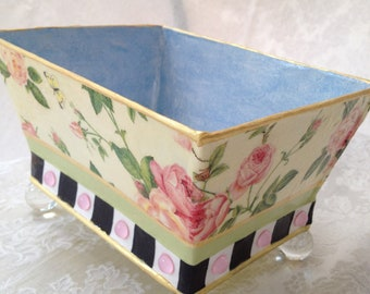 Whimsical Painted Metal Planter, Decorative Container