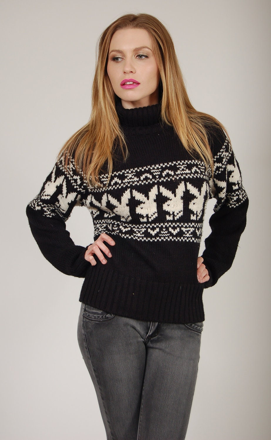 Vintage 90s Playboy Sweater Snow Bunny Jumper Small