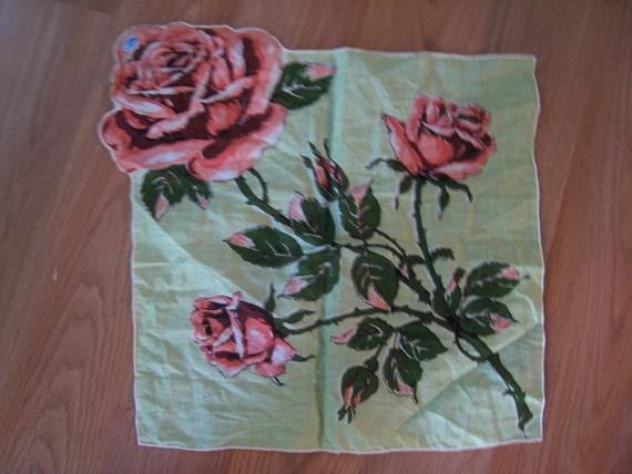 Vintage COTTON ROSE Scarf DEADSTOCK 50s Trompe L'Oeil
