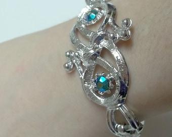 Vintage teal Aurora Borealis rhinestone silver tone bracelet,teal AB rhinestone silver bracelet,women,teen,costume,wedding,bridal,parties