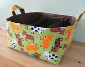 SALE Fabric Diaper Caddy - Fabric organizer storage bin basket - Urban Zoologie 3 Cows in Green