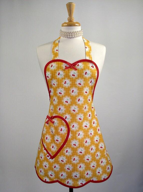 Cute Apron Womens Full Betty Sweetheart Cherry Fizz Yellow