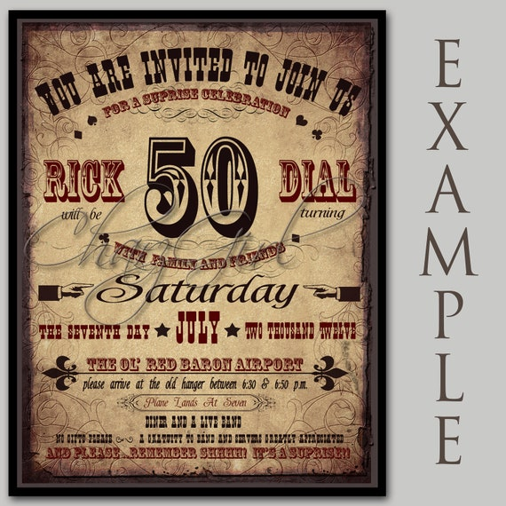 Wedding Invitations Old Fashioned: Old Fashioned Playbill Invitation Design