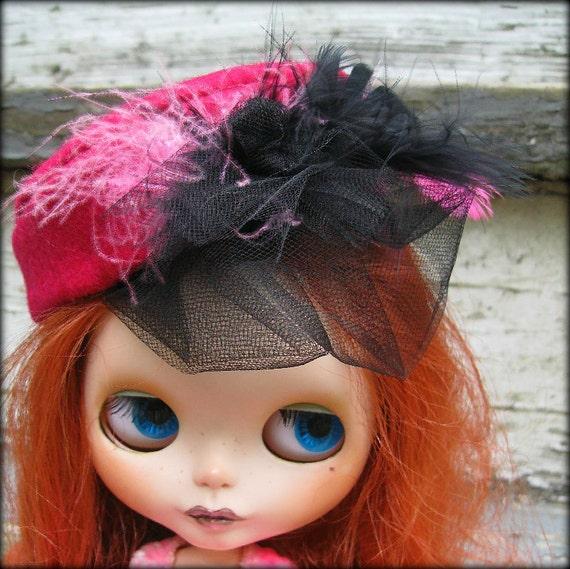 Doll Hat for Blythe - Magenta Wool Felt Cocktail Hat