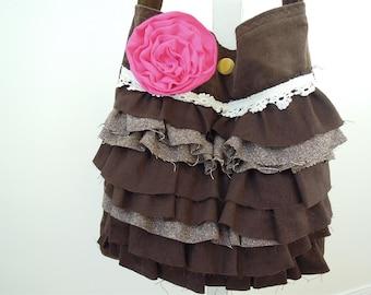 Gypsy Tote Corduroy Handbag with vintage lace Lollibag