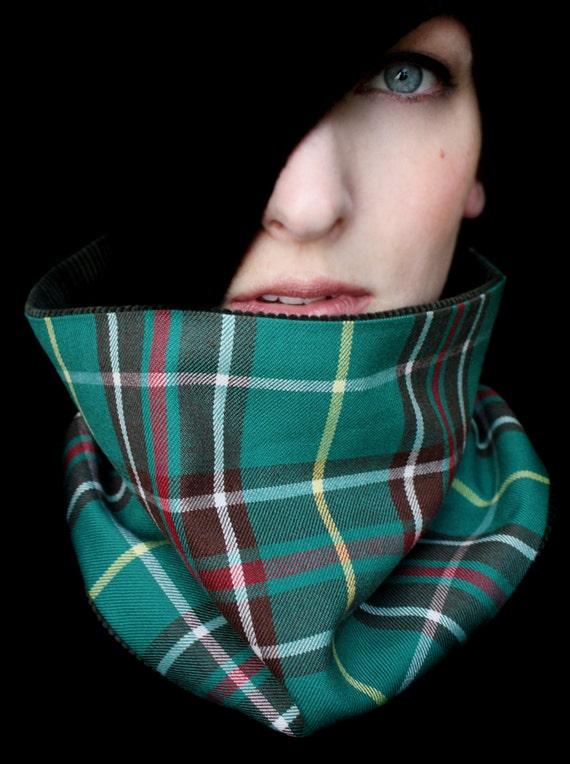 Green Scarf Neckwarmer Cowl for Men or Women