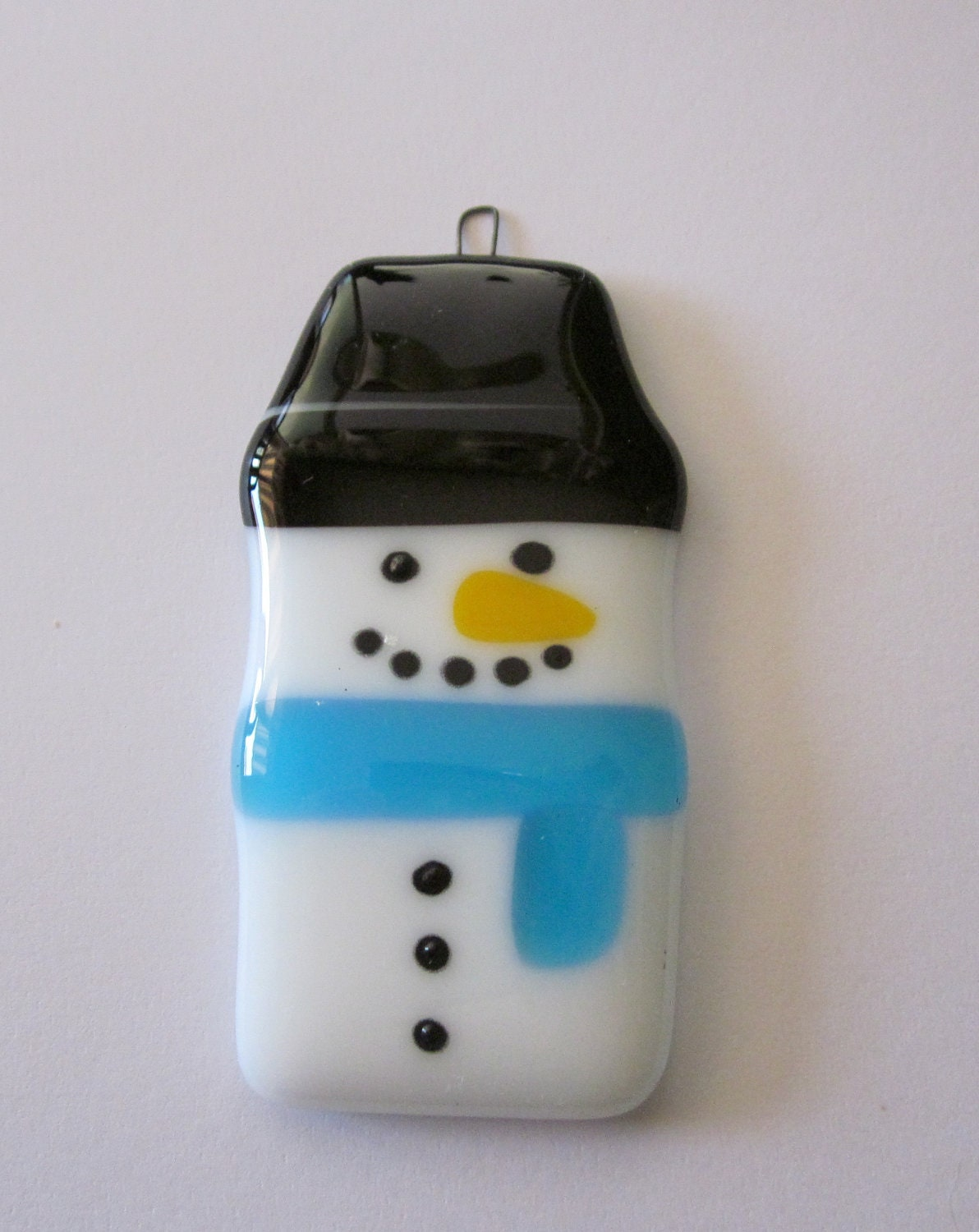 Clearance sale fused glass christmas snowman ornament for Christmas ornaments clearance