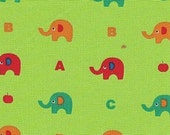 CLEARANCE Minny Miu Lecien Elephant ABC in Green Fabric - 1/2 Yard