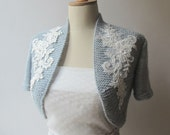 Bridal Shrug Bolero Wedding Wrap Capelet  beaded lace shawl jacket Half sleeve Made to Order