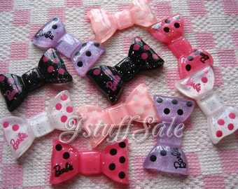 Barbie polka dot bows 10 pieces mixed color (B179)
