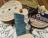 Vintage Teal Woven Edge Rayon Seam Binding