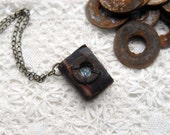 Words Awash - Rustic Brown Leather Mini Wearable Book with Tea Stained Pages, Rustic Mini Washer & Vintage French Postage Stamp