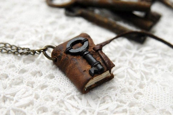 Petite Memoirs - Weathered Brown Leather Miniature Wearable Book with Tea Stained Pages & Tiny Rare Antique Key