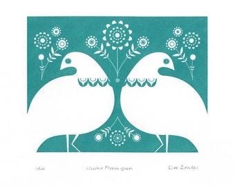 Winter Ptarmigan in Turquoise- Hand Pulled, Signed, Gocco Screen Print