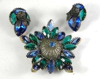 Fabulous Blue Green Rhinestones Brooch Earrings Vintage Jewelry