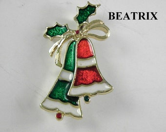 Beatrix Enamel Red and Green Bells Figural Pin Vintage Jewelry