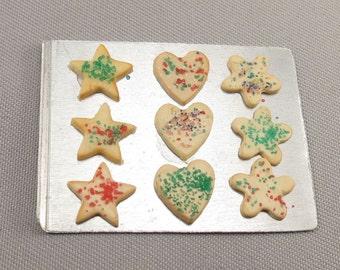 Dollhouse Miniature Christmas Cookies on Metal Baking Sheet