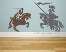Knights wall decals - Set of 2 knights on horses - Medieval wall decor - boy wall decals - wall decals for boys - knights on horses decals