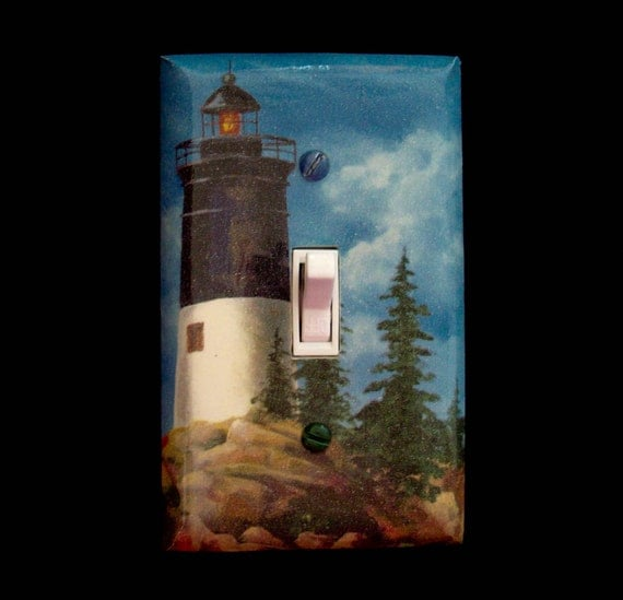 Light switch cover lighthouse ocean theme by for Lighthouse switch plates