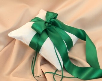 Romantic Satin Ring Bearer Pillow...You Choose the Colors...Buy One Get One Half Off..shown in white/emerald green
