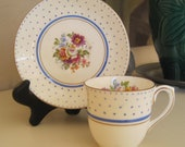 Vintage Teacup and Saucer  Espresso Demitasse Blue Polka Dots Colclough Bone China England