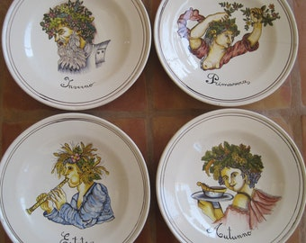REDUCED 4 Vintage Hand Painted HUGE Plates Chargers Italy Four Seasons Winter Spring Summer Fall Wall Art