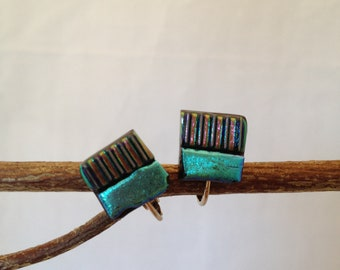 Dichroic Fused Glass Clip On Earrings