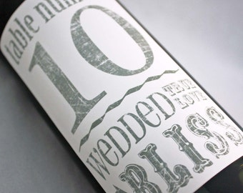 Table Number Wine Label.....Wedded Bliss
