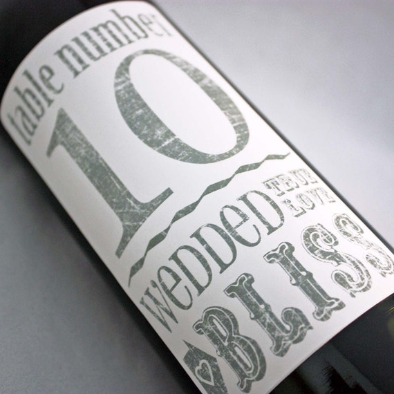 Table Number Wine Labels .... Wedded Bliss