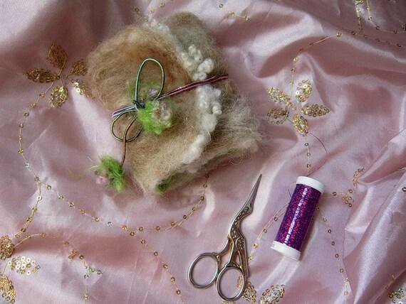 rustic sparkling handmade needle book - secret faerie land