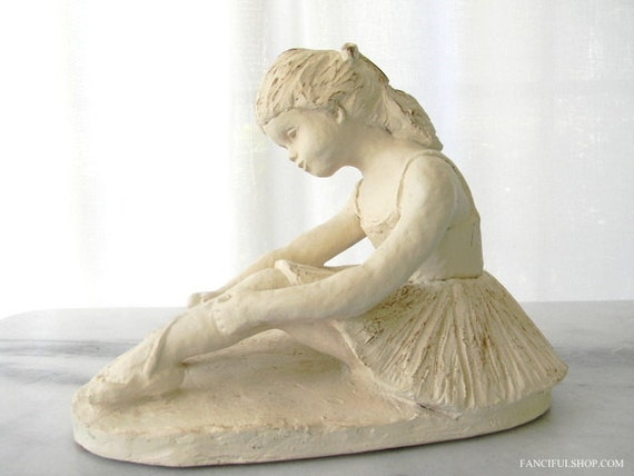 SALE Stunning Hand Sculpted Clay Ballerina Girl Statue - Signed