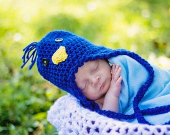 Newborn Blue Bird Hat Birdie Beanie with Ear Flaps Baby Costume Crochet Photo Prop Baby 0 - 3 Months MADE TO ORDER, Easter Chicks