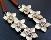 Pair of Champagne Cascading Scale Flower Hair Sticks