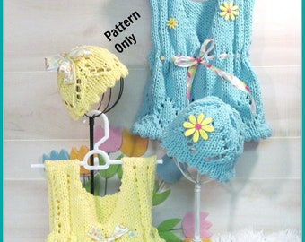 Child's Eyelet Vest and Hat Knitting Pattern  Child 3 to 10 years old
