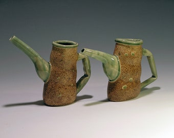 Ceramic decanter/creamer, green and brown, whimsical, maple syrup --MADE TO ORDER