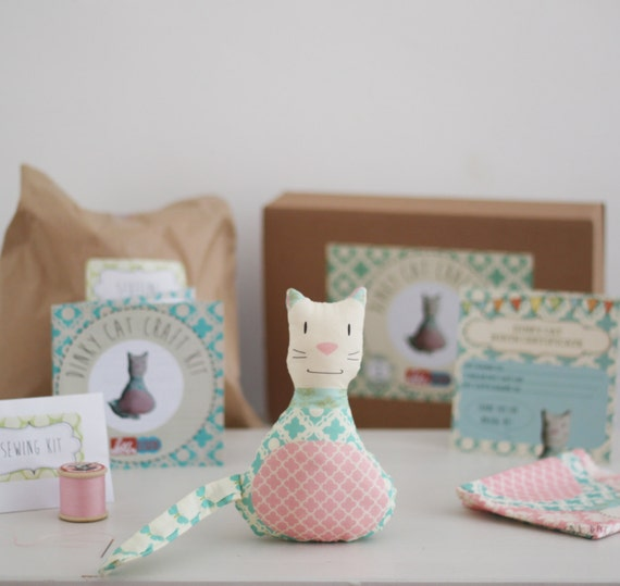 Items similar to dinky cat a simple diy sewing craft kit for Craft kits for adults to make