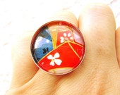 Cherry Blossom Ring Japanese  Yuzen  Washi Chiyogami  Paper Ring Domed Glass SALE