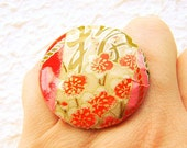 Plum Blossoms Ring  Japanese Yuzen  Washi Japanese Chiyogami  Paper Ring SALE