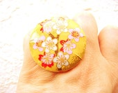 Chiyogami Ring Japanese Yuzen Paper Ring Plum Blossoms Statement Ring SALE