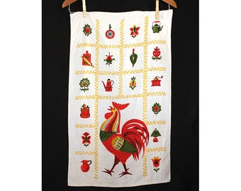 Vintage  Good Day Rooster 60s Tea Towel