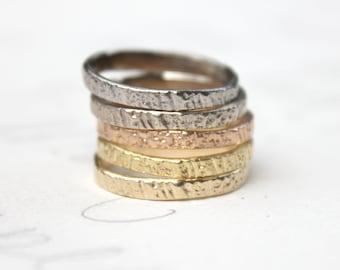 custom gold stacking ring set . woodgrain thin five golden wedding rings .14 k 18k karat gold peace rings by peacesofindigo