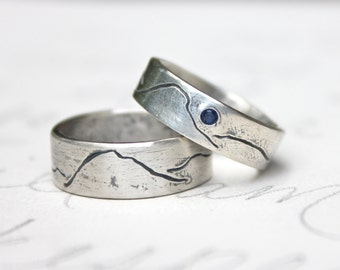 rustic mountain wedding band ring set . personalized custom eco friendly recycled silver mountain landscape bands . unisex alternative rings