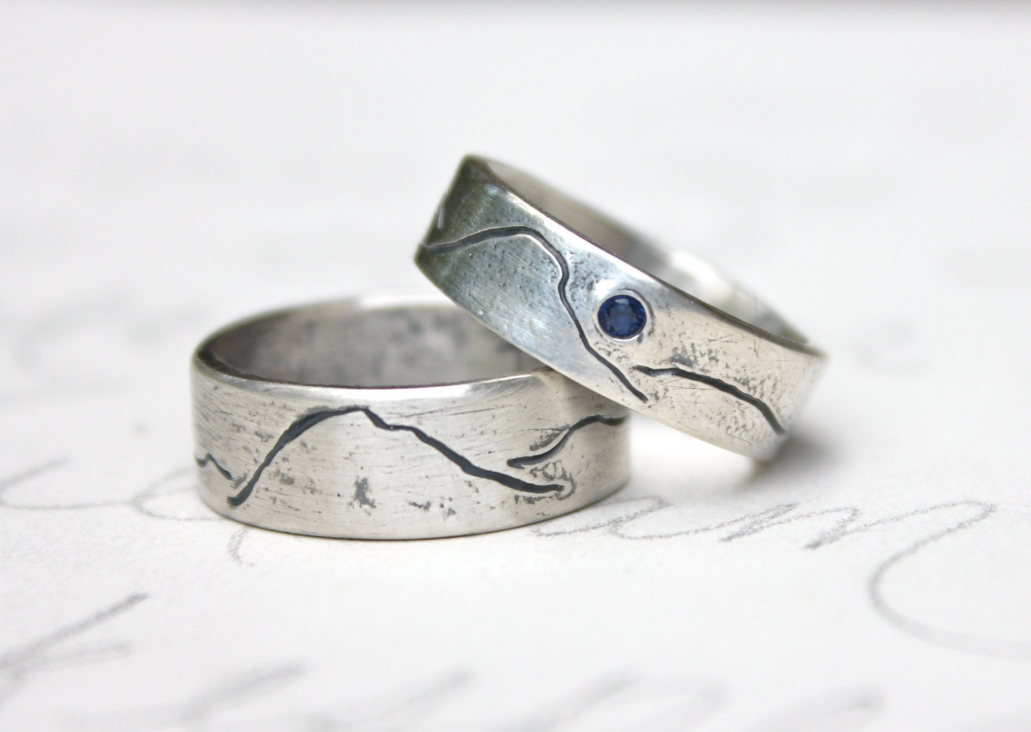 Rustic mountain wedding band ring set personalized custom for Personalized wedding rings