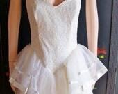 Sale GUNNE SaX Peplum Dress etsy Wedding Prom 80s size 9 S / M